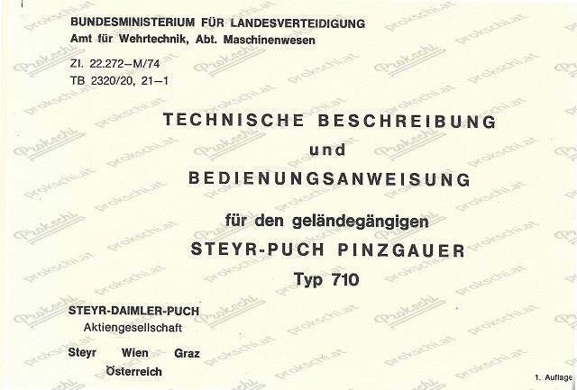 Puch Pinzgauer 710, ö.Bundesheer, kurzgefasste Betriebsanleitung