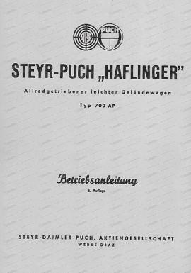 Haflinger Betriebsanleitung Typ 700AP, Ausgabe 2/1962