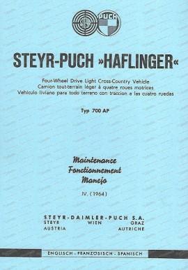 Steyr Puch Haflinger - Instandhaltung (Englisch, französisch, spanisch) Ausgabe IV. 1964