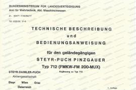 Pinzgauer 712, Österreichisches Bundesheer, Zusatz- Betriebsanleitung