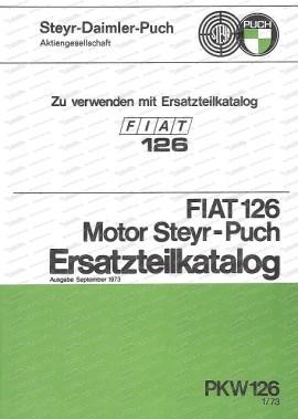Fiat 126 Engine Steyr Puch - Catalogo ricambi (tedesco)