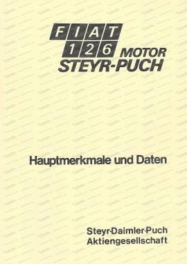 Fiat 126 con motore Puch, caratteristiche principali e dati (tedesco)