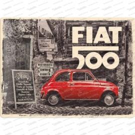 Fiat 500 Vintage - plaque métallique